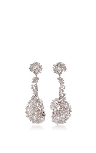 Medium neha dani white diamond wave earrings