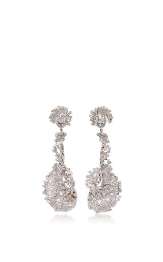 Medium neha dani white diamond wave earrings