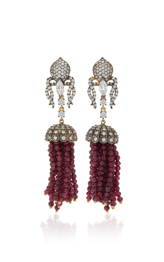 Medium anabela chan red ruby tassel earrings