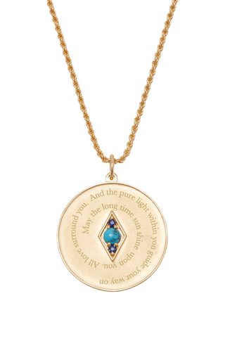 Medium venyx blue bespoke sagittarius coin pendant and chain