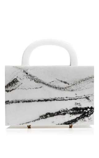 Medium l afshar neutral square leon marble clutch