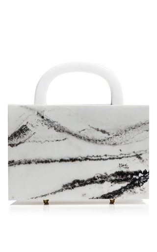 Medium l afshar neutral square leon marble clutch