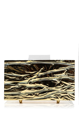 Medium l afshar gold small chrome crushed ice clutch