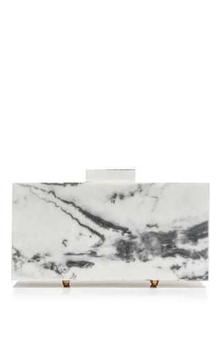 Medium l afshar white medium classic white marble clutch