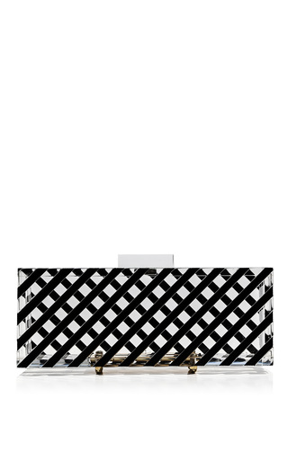 Medium l afshar black white large bowie clutch