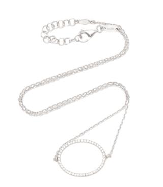 Medium as29 silver la collection oval diamond single chain choker in white gold 2