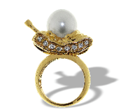 Medium completedworks gold south sea pearl tank ring