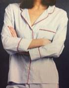Medium sleepy jones blue marina pajama shirt end on end