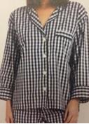 Medium sleepy jones navy marina pajama shirt large gingham