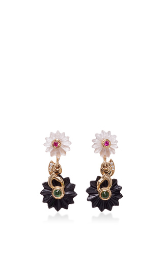Medium alice cicolini black summer snow dark drop earrings