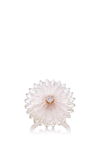 Medium alice cicolini gold summer snow ring in rose quartz