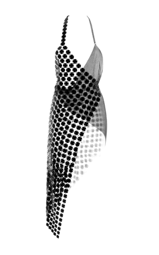 Medium fannie schiavoni black scale and metal mesh dress