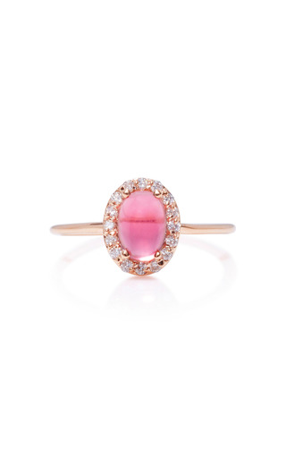 Medium marlo laz pink 14k rose gold diamond and tourmaline ring