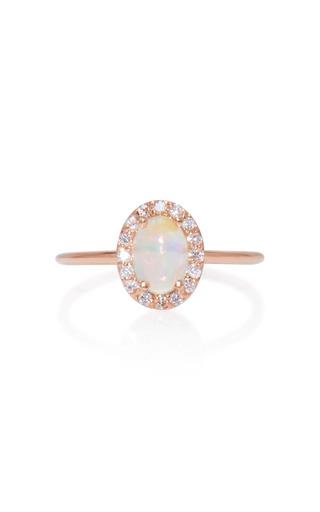 Medium marlo laz pink 14k rose gold diamond and opal ring