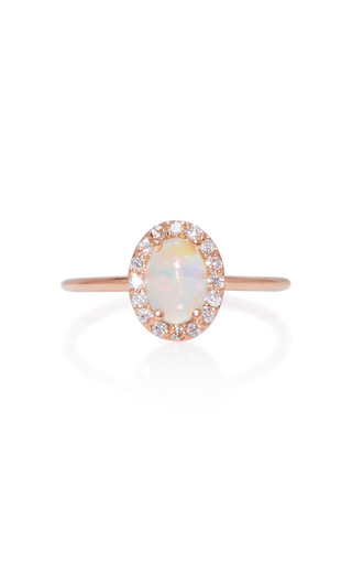 Medium marlo laz pink 14k rose gold diamond and opal ring