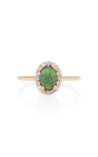 Medium marlo laz green 14k gold diamond and tourmaline ring 2