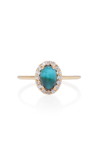 Medium marlo laz blue 14k gold diamond and tourmaline ring
