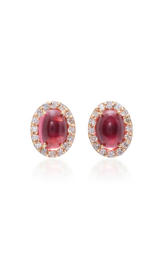 Medium marlo laz pink 14k gold diamond and tourmaline earrings