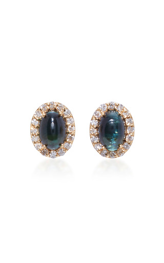 Medium marlo laz blue 14k gold diamond and tourmaline earrings 2