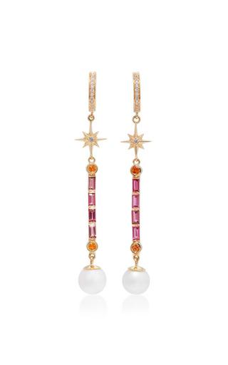 Medium marlo laz pink pearl wand multi stone earrings