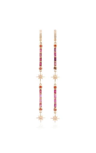 Medium marlo laz pink multi stone drop earrings 1