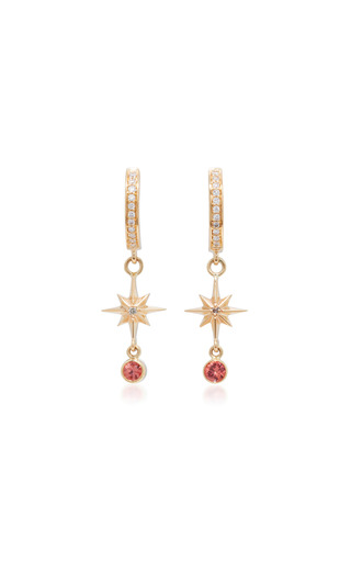 Medium marlo laz orange 14k gold sapphire and diamond earrings