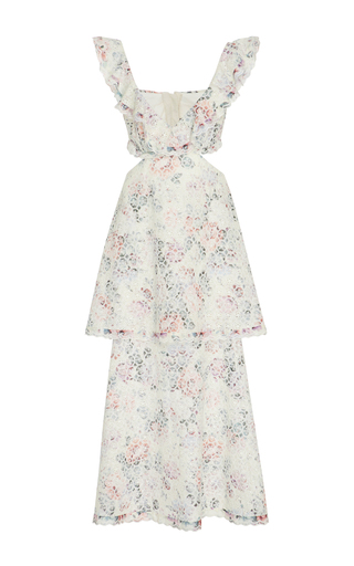 Medium zimmermann floral jasper honeycomb tier ruffled cutout dress