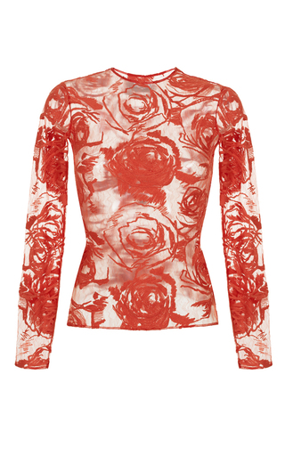 Medium rasario red lace long sleeve top