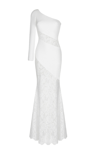 Medium rasario white lace inserts gown