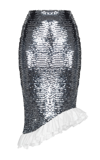 Medium rasario metallic sequin ruffle pencil skirt