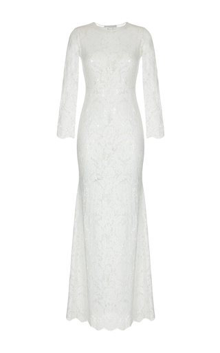 Medium rasario white long sleeve lace gown