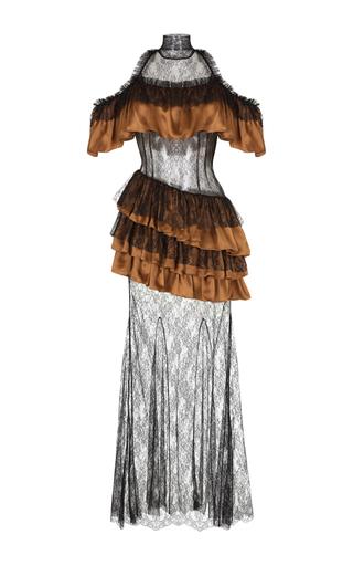 Medium rasario black open shoulder lace gown