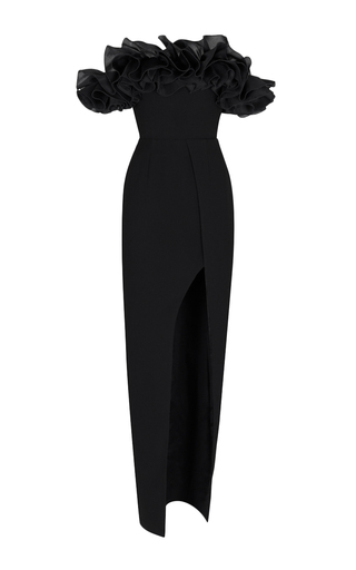 Medium rasario black off the shoulder ruffle gown