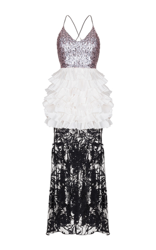 Medium rasario multi sequin ruffle lace gown