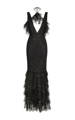 Medium rasario black gold stripe gown