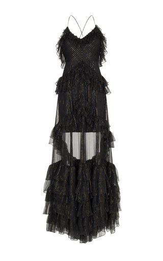 Medium rasario black ruffle gold stripe gown