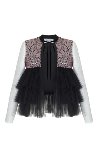 Medium rasario black ruffle tulle sequin jacket