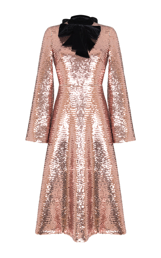 Medium rasario gold velvet bow sequin midi dress