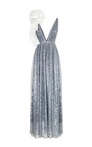 Medium rasario blue single ruffle shoulder sequin gown