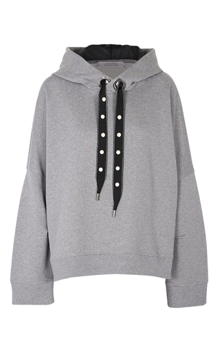Medium dorothee schumacher grey cosy casual pearl embroidered hoody