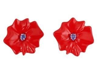 Medium sabbadini red white gold and aluminium earrings pear shape light sapphires laquer coat