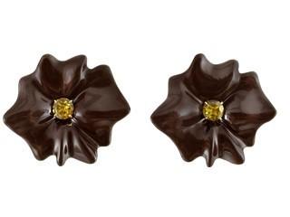 Medium sabbadini brown white gold and aluminium earrings oval cut citrines laquer coat