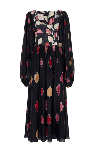 Medium sissa black alice leaf midi dress