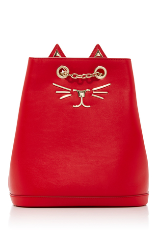 Medium charlotte olympia red embellished feline leather backpack