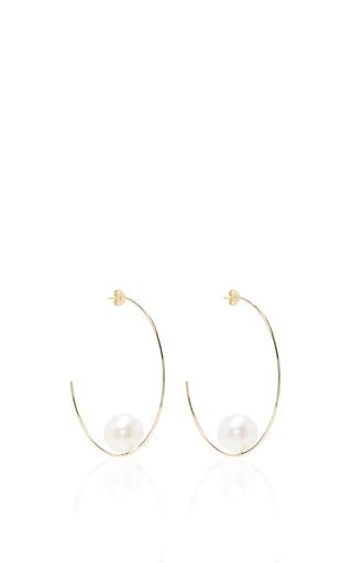 Medium mizuki white floating pearl hoop earrings