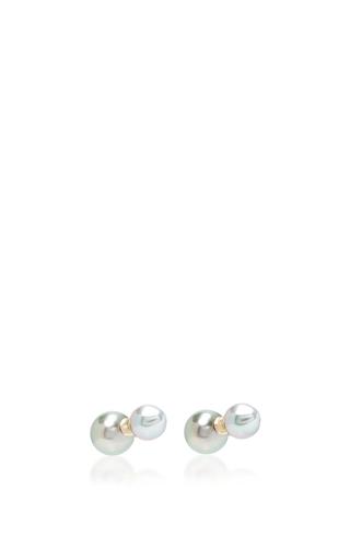 Medium mizuki black back to back tahitian stud earrings