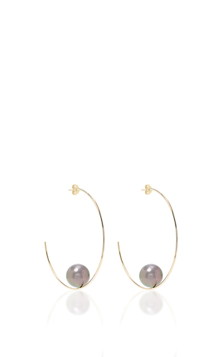 Medium mizuki black floating pearl hoop earrings 2