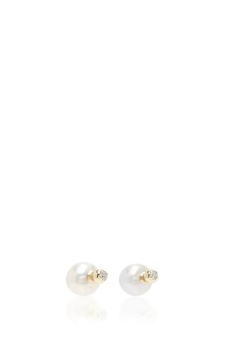 Medium mizuki white back to back pearl and diamond earring