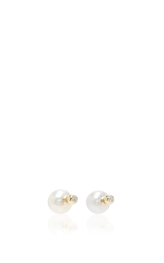 Medium mizuki white back to back pearl and diamond earring