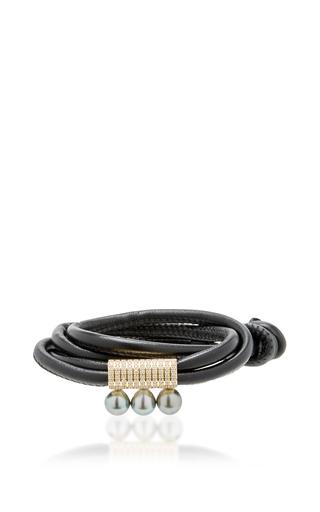 Medium mizuki black black leather double wrap with 3 pearls on 11 rows of diamonds